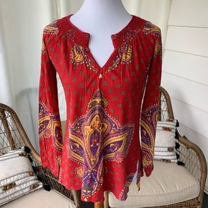 Lucky brand red pattern peasant tee M